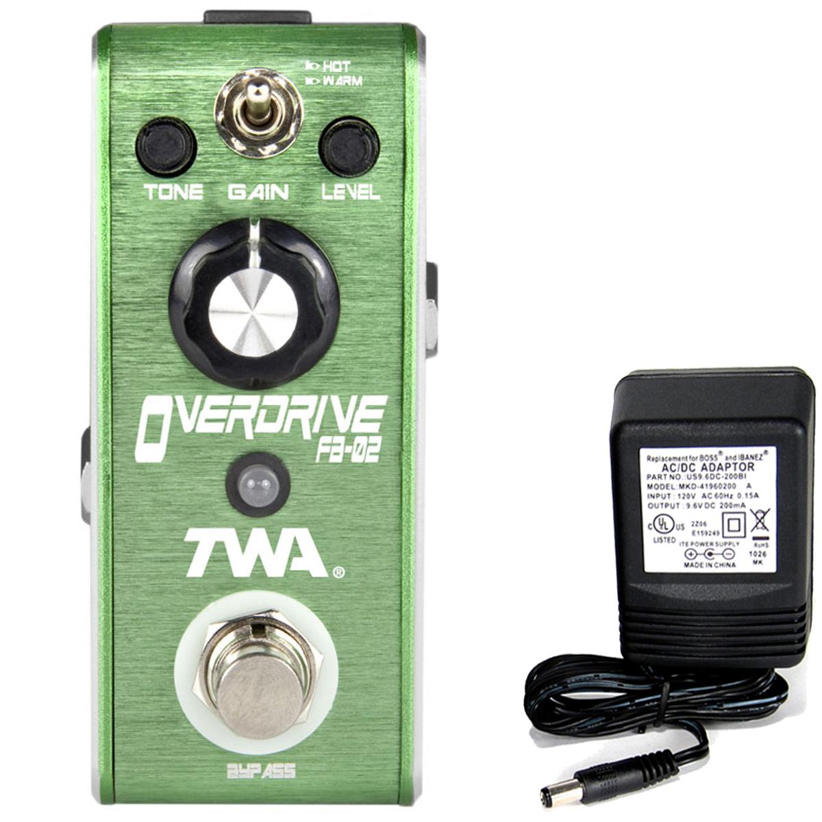 TWA Fly Boys FB-02 Overdrive pedal with C-BAT R 9v battery clip & 9v AC supply